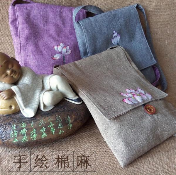 [花末]原创古风手工手绘中国风棉麻布包女包荷花莲花斜挎禅包袋